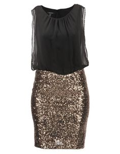 ZANDO dress by Montique (R2,200). All-in-one gathered black blouse + chiffon overlay + gold sequinned skirt.