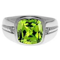 Cushion-Cut Peridot Gemstone and Diamond Men's Ring In White Gold Gemologica.com offers a unique selection of mens gemstone and birthstone rings crafted in sterling silver and 10K, 14K and 18K yellow, white and rose gold. We have cool styles including wedding and engagement rings, fashion rings, designer rings, simple stone and promise rings. Our complete jewelry collection of gemstone rings for men can be seen here: www.gemologica.com/mens-gemstone-rings-c-28_46_64.html