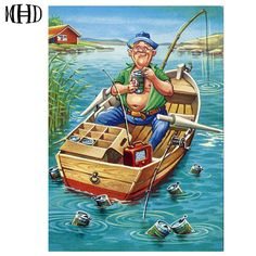 Cheap diy, Buy Quality diy diamond painting directly from China diamond painting Suppliers: MHD DIY Diamond Painting Boat Fishing Full & Round Diamond Embroidery Resin Diamond Cross Stitch Decoration Set Gift 2018 new Image 3d, Cross Stitch Animals, Trailer, Gone Fishing, Cross Paintings, Fish Art, Illustration, Printing On Fabric, Funny Pictures