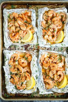 Everyone's favorite shrimp scampi without any of the fuss in these easy-to-assemble foil pouches! Prep ahead of time too! I love a good shrimp scampi. (more…) The post Shrimp Scampi Foil Packets ap Fish Recipes, Seafood Recipes, Cooking Recipes, Healthy Recipes, Dinner Recipes, Easy Shrimp Recipes, Zone Recipes, Recipies, Drink Recipes