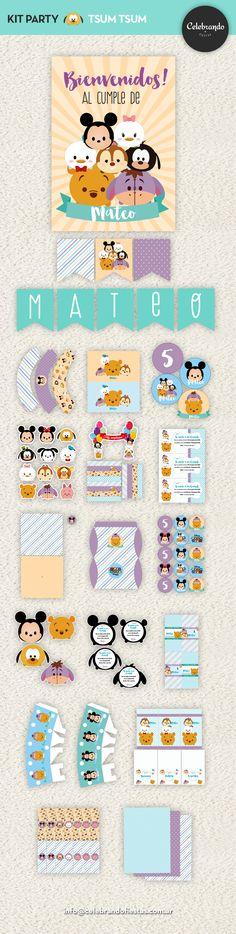 Kit imprimible Tsum Tsum - Celebrando fiestas