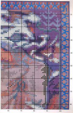 Borduurpatroon Kruissteek Mucha *Embroidery Cross Stitch Pattern ~Winter (1900) 3/7~
