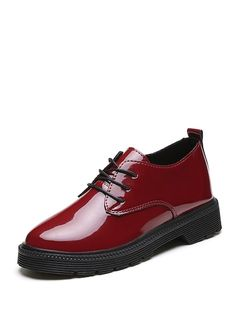Oxfords con cordón de charol Romwe, Oxfords, Men Dress, Dress Shoes, All Black Sneakers, Derby, Oxford Shoes, Lace Up, Flats