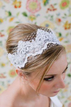 Lace & Satin Bridal Ribbon Headband with Russian Veiling and Swarvoski detailing. $45.00, via Etsy.