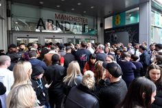 MANCHESTER, ENGLAND - OCTOBER 11: Security guards stop members of the public from entering the Arndale Centre on October 11, 2019 in Manchester, England. A man in his 40s was arrested on suspicion of assault, as paramedics treated five people for injuries at Manchester Arndale, a large shopping complex in the city centre. (Photo by Anthony Devlin/Getty Images) via @AOL_Lifestyle