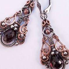 Estela Steampunk Earrings in Sterling Silver, Copper, Garnet | Wiresculptress - Jewelry on ArtFire