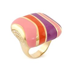 Lauren G Adams Cocktail Ring 'Stripes of Pave' Design