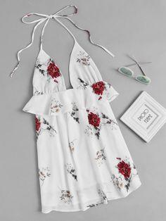 Halter Neck Floral Print Random Frill Trim Dress