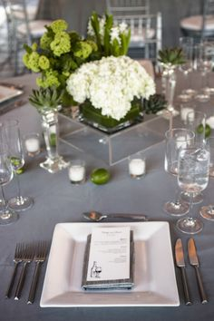 Beautiful Sonoma Wedding at Viansa Winery from Catherine Hall - green wedding centerpiece