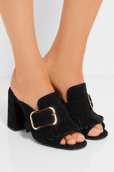 Prada - Fringed Suede Mules - Black - IT37.5