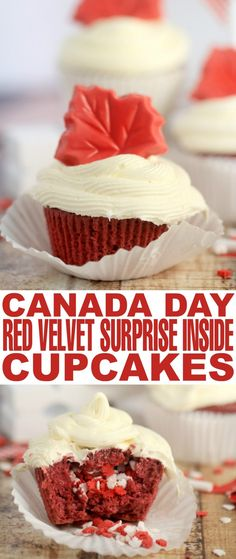 Red Velvet cupcakes may seem like an obvious choice for your Canada Day celebration, but why not kick it up a notch with these fun Canada Day Red Velvet Surprise-Inside Cupcakes!