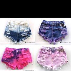 Studded, colorful high waisted shorts! | coladas and kiniis ...