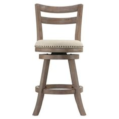 Rustic french country charm comes to life with these counter stools. Weathered brown finish frame is accentuated with a neutral thick weave linen upholstery and high density foam cushion. Features a full-ring footrest protected with a metal kick plate that ensures the longevity and sturdiness of this stool. This sturdy counter stool is a beautiful country-modern addition to your bar and kitchen.