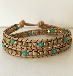 Gold and Turquoise Beaded Double Wrap by StrungOutByLeslie on Etsy