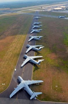 Nine Lockheed C-5 Galaxy transport 'planes