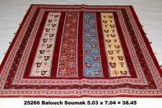 Balouch Soumak, 5-3 x 7-4 by A Rug For All Reasons   A combination of handknotted pile and soumak weave from Iran. These lovable rugs have tremendous appeal due to their charming, gabbeh-like designs and bright natural-dye colors. The owner of A Rug For All Reasons has several in her home that she will never tire of.