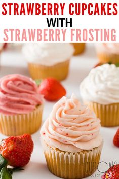 These strawberry cupcakes are moist, flavorful, and loaded with fresh strawberries! To make perfect strawberry cupcakes Strawberry Cream Cheese Frosting, Strawberry Cupcakes, Strawberry Recipes, Strawberry Buttercream, Frosting Recipes, Cupcake Recipes, Baking Recipes, Dessert Recipes, Bite Size Desserts