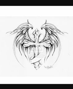 cross with wings tattoo design by MarinaAlex on deviantART Wing Tattoo Men, Cross Tattoo Designs, Tattoo Designs Men, Engel Tattoos, Bild Tattoos, Trendy Tattoos, Tattoos For Guys, Cool Tattoos, Tatoos