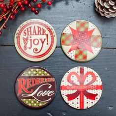 Redeemed Christmas - Share the Joy - Ceramic Coasters, Set of 4. These ceramic coasters beautifully convey welcoming colors of Christmas and encouraging messages.. Price: $14.99