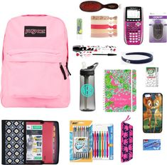 Back to School by justglitterandme featuring conair hair pins liked on PolyvoreMead Five Star 7 Pocket Expanding File / JanSport rucksack / Cellphone case / Forever 21floral hair accessory / Conair hair pin / Lacoste head wrap headband / Lancme lengthening mascara / Mason Pearson brush / Nivea beauty product, $6.07 / Lilly Pulitzer Large Agenda Day Planner See You Later 2013 / FILTERED Monogrammed Camelbak Water cheap.thegoodbags.com MK ??? Website For Discount ⌒? Michael Kors ?⌒Handbags…
