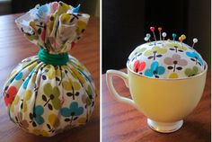 Tea cup pincushion. However, I can envision all kinds of goodies inside that little sack...