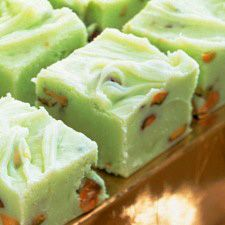 Pistachio Fudge.  Mostly white chocolate.  I wonder what it would taste like if you added a little pistachio flavored pudding to it... or perhaps grind up pistachios into a meal or paste and added that in for more pistachio goodness.