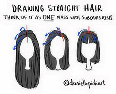 drawing straight hair