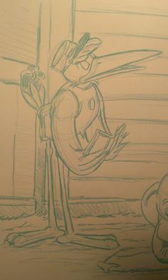 """2015 Dumbo Drawing 1 of 3: """"Delivery"""" (Pencil sketch close-up) Close-up of completed blue-line pencil sketch of the first large (18x24 in) Dumbo drawing, featuring the Stork. #arielsartwork #dumbo #stork #delivery #disney #cartoon #animation #sketch #pencil #blueline #nonphotoblue #art"""