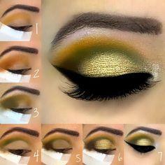 Green eyeshadow makeup tutorial Easy step by step pictorial instructions Green Eyeshadow Look, Makeup For Green Eyes, Eyeshadow Looks, Eyeshadow Makeup, Eyeshadows, Makeup Cosmetics, Makeup Eye Looks, Eye Makeup Tips, Love Makeup