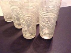 """Rare Vintage set (10) """"Culver LTD"""" Orchid/ White Striped Glassware/Barware"""