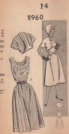 1950s Mail Order 2960  Misses Sundress and Bolero  Jacket womens vintage sewing pattern by mbchills