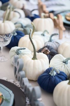 White and Blue Pumpkins from A Casual, Budget-Wise Friendsgiving Party Styled by… - Thanksgiving Pumpkin Patch Farm, Pumpkin Patch Birthday, Pumpkin Birthday Parties, Thanksgiving Birthday, Little Pumpkin Shower, Little Pumpkin Party, Baby In Pumpkin, Baby Shower Fall, Boy Baby Shower Themes