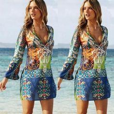 Vestido Casual de Mangas Largas-Multicolor
