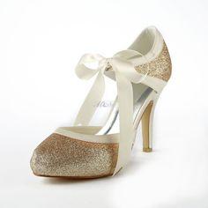 Satin Stiletto Escarpins à talons hauts avec paillettes scintillantes chaussures de mariage