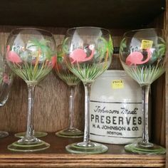 Flamingo and Palm tree stemmed wine glasses