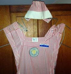 For Granny - 1960s-VINTAGE-VOLUNTEER-CANDY-STRIPER-DRESS-COSTUME-W-CAP-SIZE-42-SMH-DC