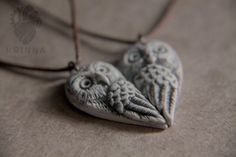 Sweet owls pair necklaces from polymer clay by Krinna.deviantart.com on @DeviantArt