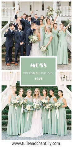 Tulle and Chantilly real wedding moss bridesmaid dresses 2020 Bridesmade Dresses, Summer Bridesmaid Dresses, Affordable Bridesmaid Dresses, Bridesmaid Hair, Wedding Dresses, Bridesmaids, Wedding Motif Color, Wedding Motifs, Wedding Colors