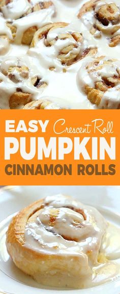 Easy Pumpkin Cinnamon Rolls kip the yeast, and dough….try Easy Pumpkin Cinnamon Rolls made with crescent roll dough and topped with a homemade cream cheese frosting. The perfect fall breakfast! Paleo Cinnamon Rolls, Cinnamon Roll Cheesecake, Cinnamon Roll Muffins, Cinnamon Roll French Toast, Pumpkin Cinnamon Rolls, Pumkin Roll, Cinnamon Butter, Cinnamon Recipes, Cinnamon Bread