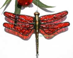 Stained+Glass+DRAGONFLY+Suncatcher+Ruby+Red+by+stainedglasswhimsy,+$22.00