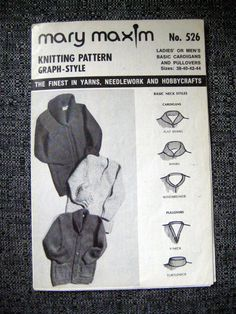 Knitting Pattern, Adult Cardigan Sweaters Size 38- 44 Graph Style Pattern,Mary Maxim 526 at Designs By Willowcreek on Etsy by DesignsByWillowcreek on Etsy