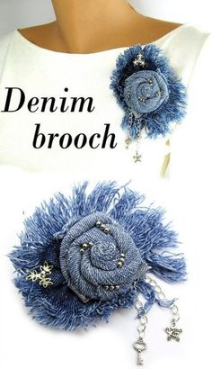 Your place to buy and sell all things handmade Denim brooch Jeans brooch Denim flower brooch Blue fabric Flower Jeans, Denim Flowers, Burlap Flowers, Lace Flowers, Fabric Flowers, Denim Earrings, Fabric Earrings, Fabric Jewelry, Crochet Earrings
