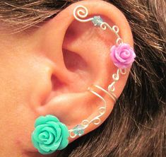 Non Pierced Ear Cuff  Roses are Colorful by ArianrhodWolfchild, $12.00
