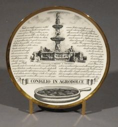 """Set of Six Plates, """"Specialita Siciliane"""" by P. Fornasetti   From a unique collection of antique and modern dinner plates at https://www.1stdibs.com/furniture/dining-entertaining/dinner-plates/"""