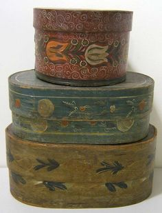 Three Continental bentwood brides boxes, 19th c., with floral decoration, 7 1/4'' h., 17'' w., 7'' h., 10 1/4'' w., and 6'' h., 15 1/2'' w.