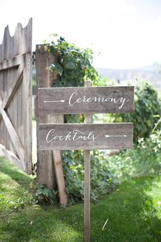 The font used on these wood signs is perfection | Lovely Neutral Palette Wedding at Flying Dog Ranch http://fabyoubliss.com