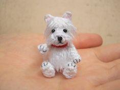 White Westie Crochet Miniature Dog Stuffed Animals Made by SuAmi