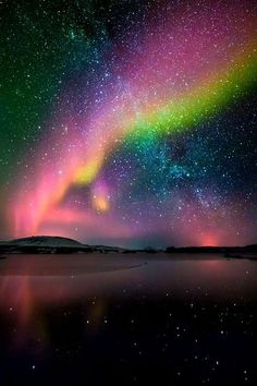 Aurora borealis and milky way, Iceland! Awesome reflections of the Aurora Borealis and the Milky Way! All Nature, Science And Nature, Amazing Nature, Beautiful Sky, Beautiful World, Beautiful Places, Beautiful Lights, Wonderful Places, Romantic Lights