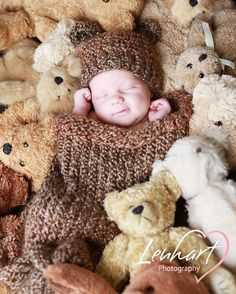 Knit Infant Cocoon Pod Nest Wrap and Matching Bear Hat