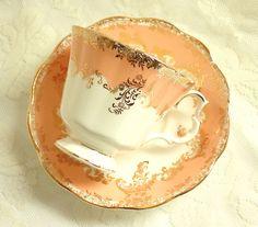 Vintage Royal Albert Regina Series OPAL Teacup Peach Bone China